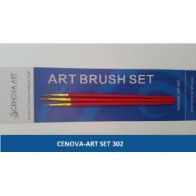 Cenova Art Set 302 Yuvarlak Uç 3'lü Set Fırça