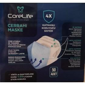 CoreLife 4 Katlı 3D Tek Kullanımlık Medikal Maske