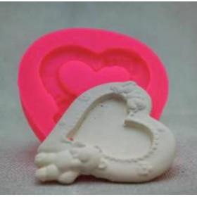 Kalp Ayıcıklı Love Çerçeve Kalıbı